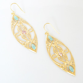 Ostara - 16k Gold Plated Filigree Earrings/Swarovski Pacific Opal
