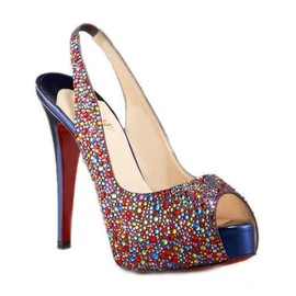 Christian Louboutin - Christian Louboutin Jeweled Platform Slingback Multi-color