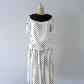 Silk polka dot dress set . vintage 1980s Neiman Marcus dress
