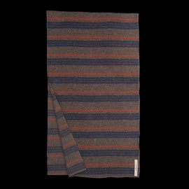 THE HILL-SIDE - Striped Wool Blend Blanket Lining Scarf in Brown, Blue, & Orange