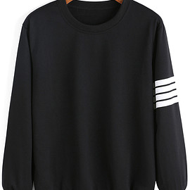 Romwe - Round Neck Varsity-Striped Sweatshirt