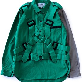 PEEL&LIFT - Parachute Shirt (green×grey)