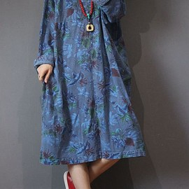 oversized dress - Loose Women 's Dresses in blue, green loose fitting dress, Red oversized dress