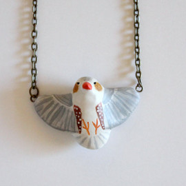 Handy Maiden - Penguin zebra finch in flight necklace