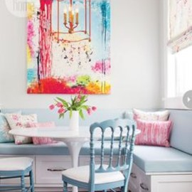 Banquette Dining Room with bright pops of color