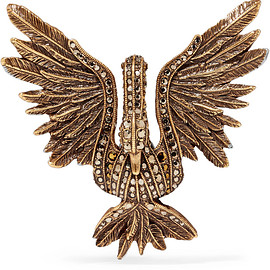 LANVIN - FW2017 Antiqued gold-tone crystal brooch