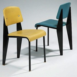 Jean Prouve - Pair of chairs with Skai seats, ca 1950