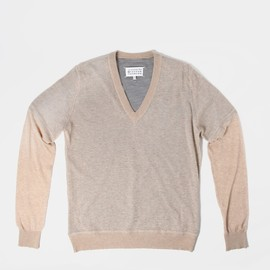 Maison Martin Margiela 10 - Sheer V-Neck Knit Beige.