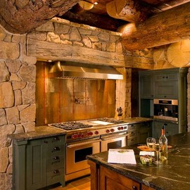 A Rustic Log Home kitchen in New York.