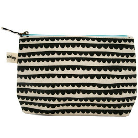 lisa stickley - valerie makeup bag, round collar charcoal