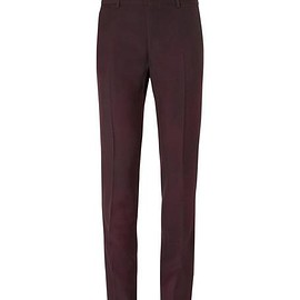 Lanvin - Burgundy Slim-Fit Overdyed Brushed Wool-Gabardine Suit Trousers