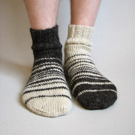 Milleta - Asymmetrical Striped Hand Knitted Socks