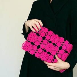 Deep pink lace clutch - large black, neon fashion, fluorescent, vintage upcycled, large purse, hand painted accessory OOAK