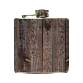 LiquidCourage - Distressed Brown Old Barn Wood Whiskey Flask