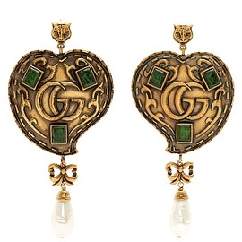 GUCCI - Feline GG-heart drop earrings