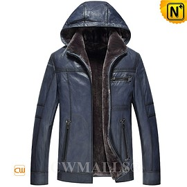 CWMALLS - CWMALLS® Navy Shearling Leather Hooded Jacket CW836505