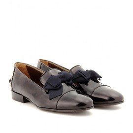 LANVIN - LEATHER LOAFERS WITH GROSGRAIN BOWS