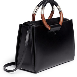 The Row - Black 'Classic' Wooden Handle Leather Box Bag