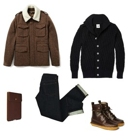 A.P.C. - jacket sns herning cardigan quoddy shoes apc jeans APC JACKET + SNS HERNING STARK + QUODDY SHOES + APC JEANS + BILL AMBERG IPAD CASE | MR PORTER 20% PROMO CODE