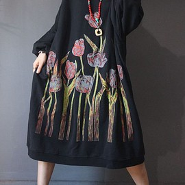 Cotton dress long - Women's Loose bat sleeves dress, oversized dress for Women, Cotton dress long