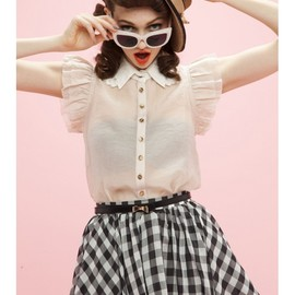 Honey mi Honey - Shoulder frill collar blouse pink