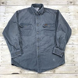 Carhartt - Carhartt Button Down Heavy Cotton Gray Button Down Work Shirt Mens Size Medium