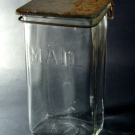 "Antique - 1930-40's Wall Mount ""VISIBLE"" Glass MAIL BOX"