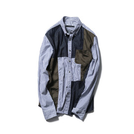 SOPHNET. - MILITARY FABRIC MIX REGULAR COLLAR SHIRT