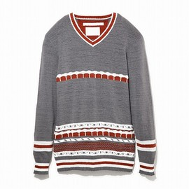 White Mountaineering - ABSTRACT PATTERN JACQUARD V-NECK KNIT
