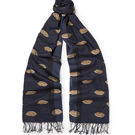DRIES VAN NOTEN - Frankie Lip-Print Cotton and Silk-Blend Scarf