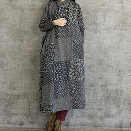 Women's winter dress - vintage cardigan with velvet dress, casual robes
