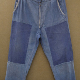 mid 20th c. patched blue work trousers