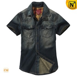 CWMALLS - Mens Fitted Denim Short Sleeve Shirts CW114327