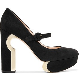 Nicholas Kirkwood - Metallic-trimmed suede Mary Jane platform pumps