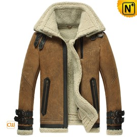 CWMALLS - Shearling Leather Bomber Jacket for Men CW860216