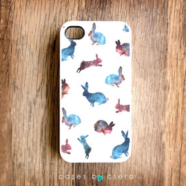 cases by csera - Christmas Gifts Unique iPhone Case, iPhone 4 Case, iPhone 4 Cover iPhone Case Rabbit iPhone Case iPhone 4S Case Galaxy iPhone Case
