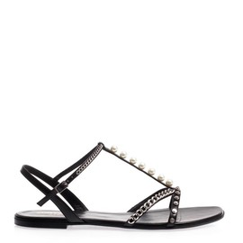 SAINT LAURENT - Alice pearl and chain sandals