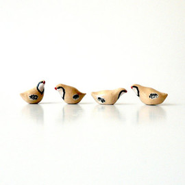 Miniature Ceramic Partridges Extra Small and Extra Cute