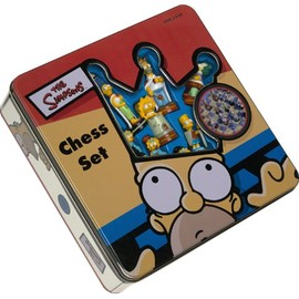 Wood Expressions - Simpsons Chess Set with Laminated Wood Board
