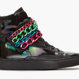 RAF SIMONS - Black Holographic Tricolor Chained Velcro Sneaker