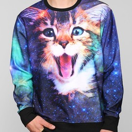 い義入りす - Cat In Space Pullover Sweatshirt