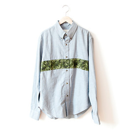 Band of Outsiders - B.D. SHIRT/Blue Chambray×Camouflage Print