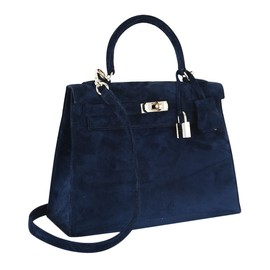 HERMES - Kelly Bag in blue Doblis suede