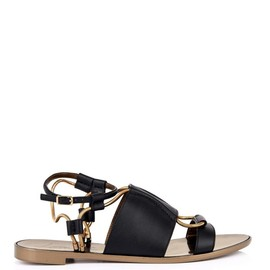LANVIN - Leather and chain sandals