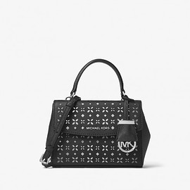 Milk shake - MICHAEL Michael Kors Ava Extra-Small Perforated-Leather Crossbody Black