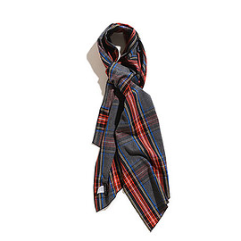 ENGINEERED GARMENTS - Long Scarf-Brushed Plaid-Grey×Red