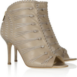 JIMMY CHOO - Gio suede-woven leather sandals