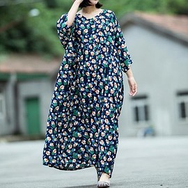 Women Maxi dress - Women Maxi dress, Cotton dress, Oversized dress blue, Maternity Clothing, Tunic dress