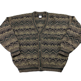 VINTAGE - Vintage 1990s 90s 5-Button Acrylic Brown Cardigan Sweater Mens Size Large