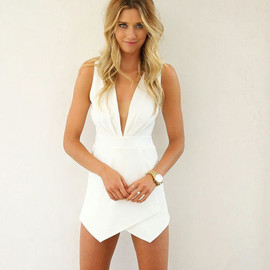 Sexy Deep V-neck White Sleeveless Jumpsuit